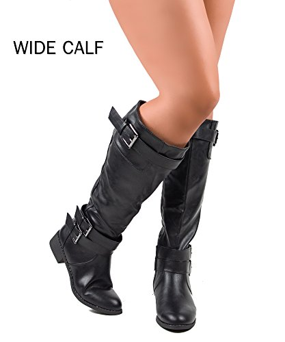 Review RF ROOM OF FASHION Madison-21 Wide Calf Riding Boots (Black PU Size 8)