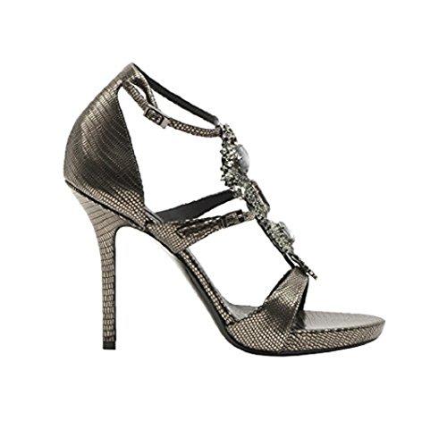 Baldan Italian Designer Lizard Print Ankle Strap Sandal With Jewels Grey sVhbVAd