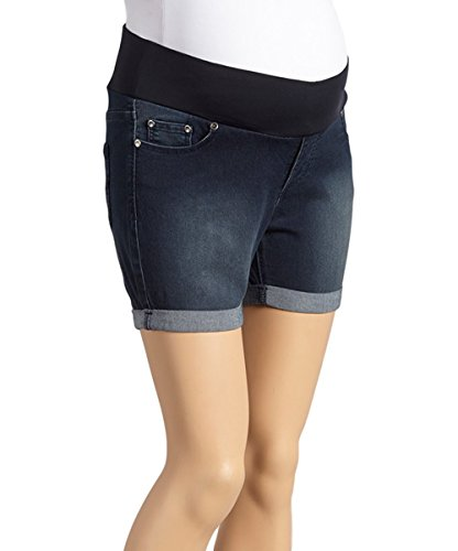 Sass & Sassy Women's Plus Size Comfort Band Pull On Roll Cuff Denim Shorts (3X, Medium) ()