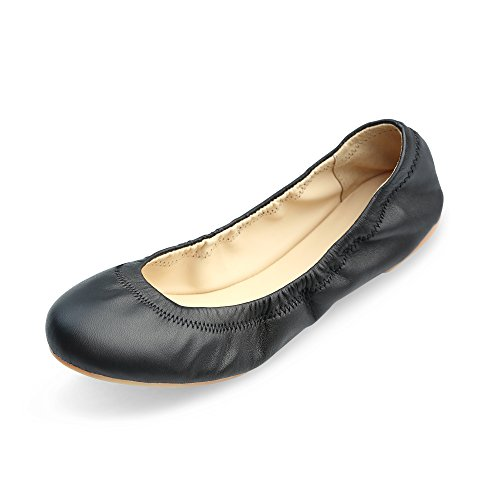 Xielong Women's Emmie Chaste Ballet Flat Lambskin Loafers Casual Ladies Shoes Leather (10.5B(M) US, Black)