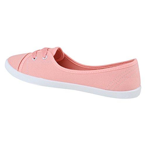 Klassische Damen Ballerinas Sportliche Stoffschuhe Slipper Flats Sneakers Slip-ons viele Farben Flandell Hellrot
