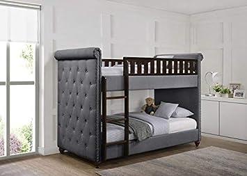 Etagenbett Kinder Grau : Amazon chesterfield kinder etagenbett mit matratzen cm