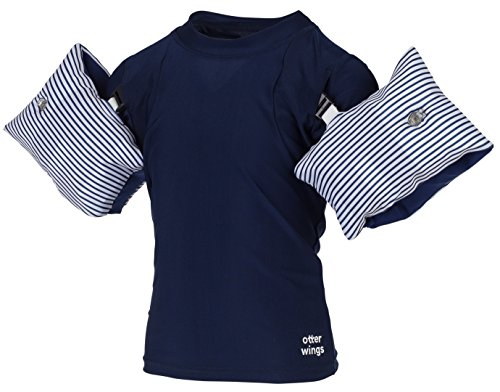 Otter Wings Kids Floaties (Water Wings) / UPF Swim Shirt Combo Swim Aid (Navy Blue, 2-4yrs)