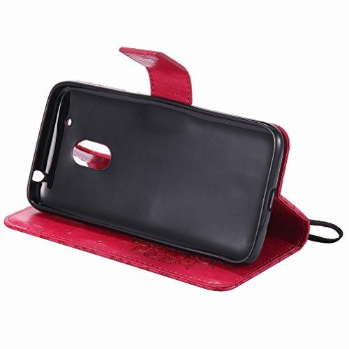 Yiizy Motorola Moto G4 Play Custodia Cover, Sole Petali Design Sottile Flip Portafoglio PU Pelle Cuoio Copertura Shell Case Slot Schede Cavalletto Stile Libro Bumper Protettivo Borsa (Rosso)