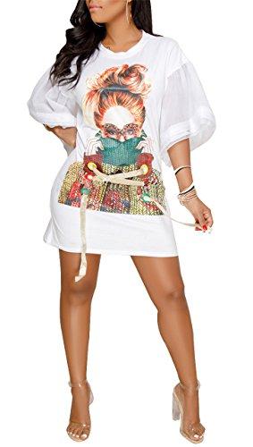 Speedle Womens Casual Short Puff Sleeve Digital Graffiti Print Loose Tunic T-Shirt Mini Dress White M