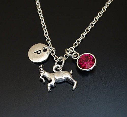 (Goat Necklace, Goat Charm, Goat Pendant, Goat Jewelry, Gift for Farmer, Farmers Wife, Farmers Daughter, Farmers Sister, PERSONALIZED, Initial Letter, Birthstone, Goat Gift)