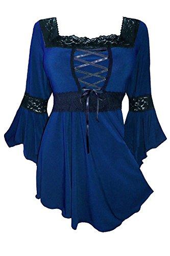 Uni-fashion Corsé para Mujer Estilo Victoriano, gótico, Bohemio, Sexy, renacentista, Bruja, Celta, Rockabilly, Midnight, 5X