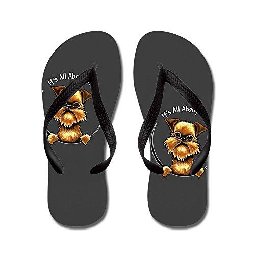 CafePress Brussels Griffon IAAM - Flip Flops, Funny Thong Sandals, Beach Sandals Black