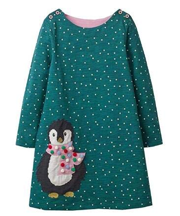 VIKITA 2018 Toddler Girls Dresses Christmas Penguin Long Sleeve Girl Dress for Kids 3-8 Years JM7735, 8T -