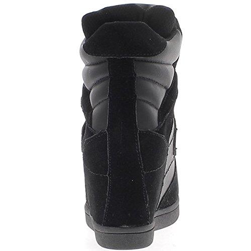 cabd210ea9fa1 ... Chaussmoi Noir Bi Chaussettes Montantes Avec Talon Compensé 7,5 Cm ...