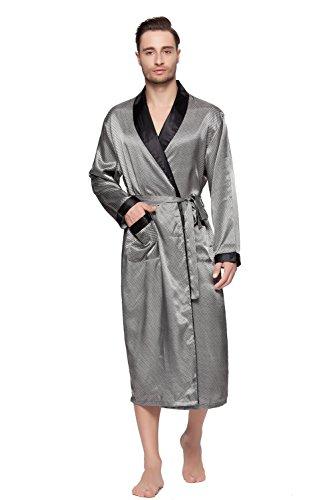 Shining Life Mens Shawl Classic Satin Kimono Robe Sleepwear (M, SILVER)