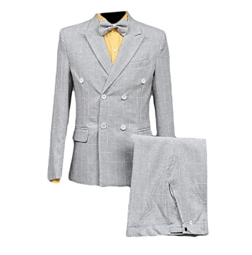 buildup Mens Grid Slim Double-Breasted Sequin 2pcs Set Wedding Business Suit Light Grey XS by Buildup-men clothes