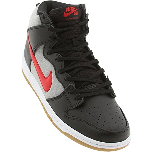 Nike YOUTH DUNK HIGH PRO SB SKATE SHOES, BLACK/UNIVERSITY RED/MEDIUM GREY, 38.5 D(M) EU/5.5 D(M) UK