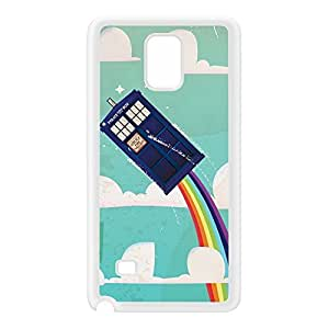 Flying Police Box White Silicon Rubber Case for Galaxy Note 4 by Nick Greenaway + FREE Crystal Clear Screen Protector