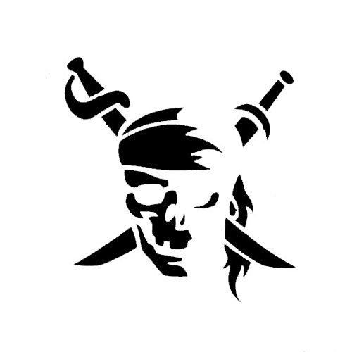 Swords Jolly Roger (Pirate Jolly Roger Black Decal Vinyl Sticker|Cars Trucks Vans Walls Laptop| Black |5.5 x 5.25 in|LLI528)