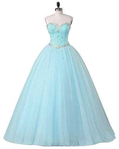 Dress Dresses Gown Light Tulle Blue Women's Sweetheart Ball Quinceanera Beautyprom Prom P8qF1S
