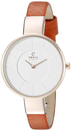 Obaku Women's V149LXVIRO Analog Display Analog Quartz Orange Watch