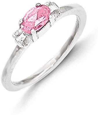 Jewelry Pilot Sterling Silver Pink Cubic Zirconia Candy Kids Ring Size 3