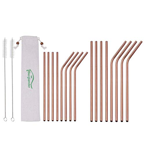 Berglander Reusable Titanium Plated Stainless Steel Rose Gold Drinking Straws Straight and Bent Metal Straws with Brushes for Milkshakes, Frozen Drinks, Smoothies, Bubble Tea, Copper Straws, Set of 18 ()