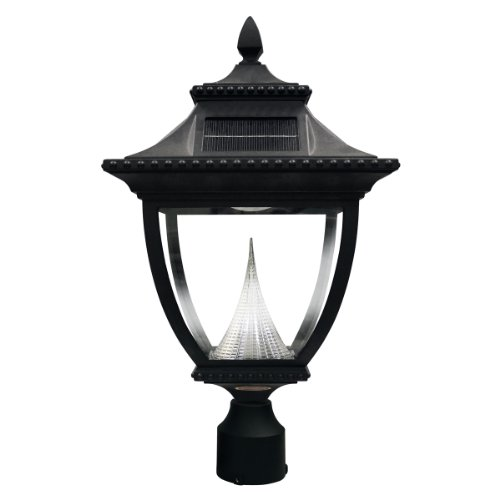 GAMA Pagoda Solar Outdoor LED Light Fixture, 3-Inch Fitte...