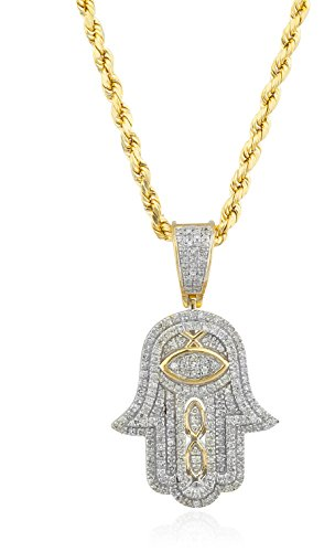 10K Yellow Gold .36 Cttw Diamond Hamsa Pendant & 10K 24 Inch Rope Necklace by JOTW