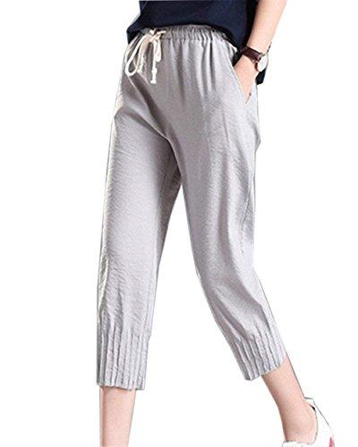 Elastico Elegante Casual Solidi Pantaloni Tempo Colori Coulisse Fashion Pantaloni High Lino Semplice Con Capri HaiDean Estivi Grau Moda Pantaloni Libero 8 Glamorous Donna Pantaloni 7 Pantaloni Waist Ig4qAxwC