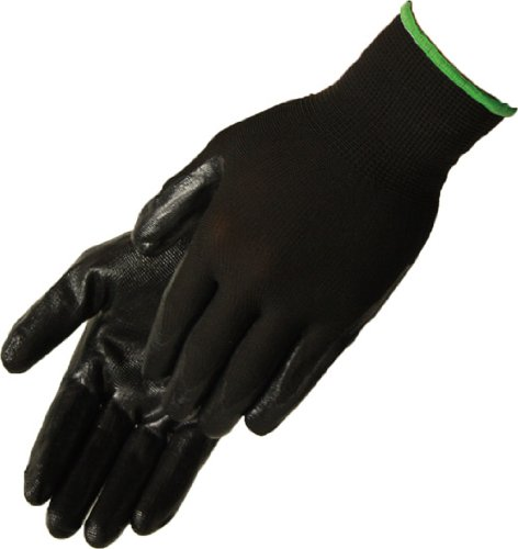 Liberty Q-Grip Ultra-Thin Standard Nitrile Palm Coated Glove with 13-Gauge Black Nylon Shell, Medium, Black (Pack of 12)