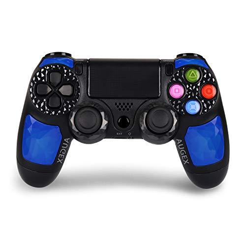Game Controller for PS4- Double Shock 4 Wireless Controller for Playstation 4 - Joystick with Sixaxis, Bluetooth, Super Power, Micro USB, Multi-Touch Clickable Touch Pad- AUGEX Dipsey Diamond (Blue)