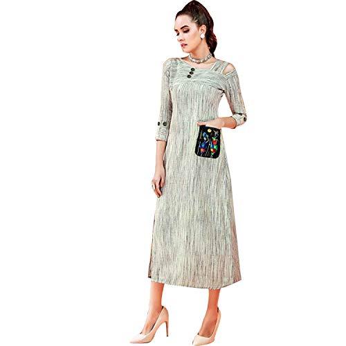 Ladyline Designer Cotton Hand Printed Kurti Kurta 3/4 Sleeves Long Women Tunic Top