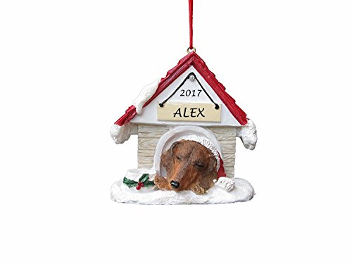 - Doghouse Ornament - Dachshund, Red Color Ornament Hand Painted and Personalized Christmas Doghouse Ornament with Magnetic Back