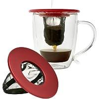 Primula - Filtro de café para taza individual, calce casi universal, ideal para viaje, ecológico, reutilizable, filtro de malla fina, apto para lavaplatos, color rojo