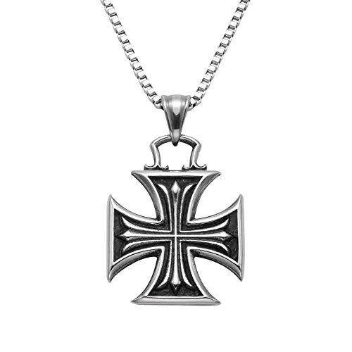 Stainless Steel Maltese Cross Pendant w/20