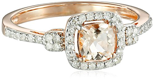 AMAZOn 10k Pink Gold Morganite and Diamond (1/4cttw) Cush...
