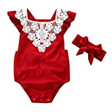 NUWFOR Toddler Newborn Baby Sleeveless Lace Romper Jumpsuit+Headbands Set Outfit(Red,18-24Months)