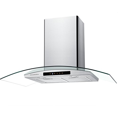 CIARRA 36-inch Range Hood Wall Mounted Vent Stainless Steel+Tempered Glass,Convertible Ducted/Ductless Vent Hood with 2 Aluminum Filters,3 Speeds,LED Lights,Touch Control ()
