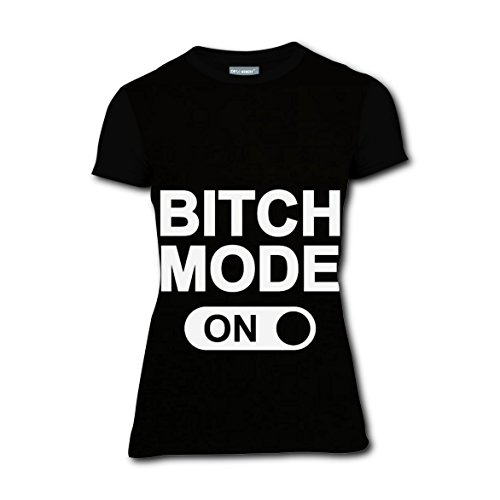 Bitch Mode On Saying T-shirts Tee Shirt for Women Tops Round Black S (Pregnant Couple Halloween Costume Ideas)