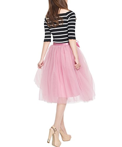 Women's High Waist Princess A Line Midi/ Knee Length Tulle Skirt Pleated for Prom Party Formal