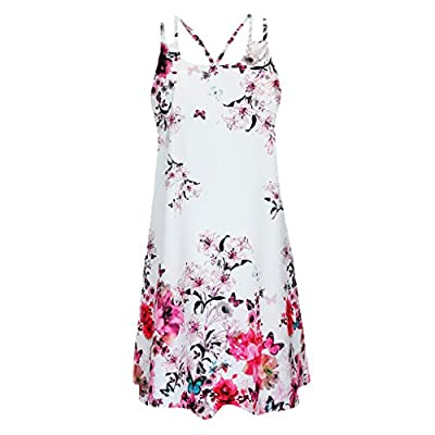 Xinantime Womens Vintage Boho Camisole Dresses Ladies Summer Sleeveless Beach Printed Short Mini Dress: Clothing