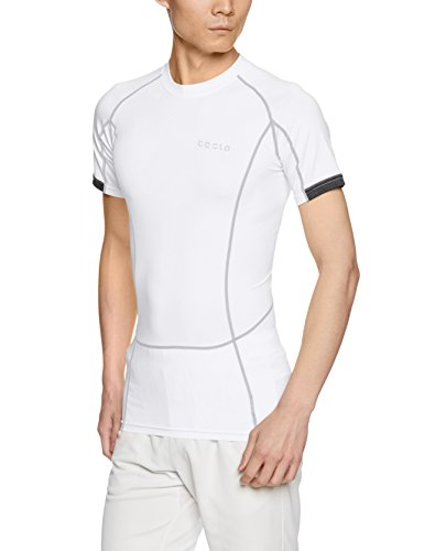 TSLA CD TM-MUB13-WHT_Medium Men's Short Sleeve T-Shirt Cool Dry Compression Baselayer MUB13