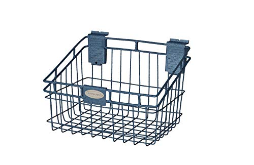 (Suncast Wire Storage Basket - Wire Basket Ideal for Hanging on Slat Wall, Door, Counter for Convenient and Accessible Storage - Holds up to 40 lbs. - Blue)