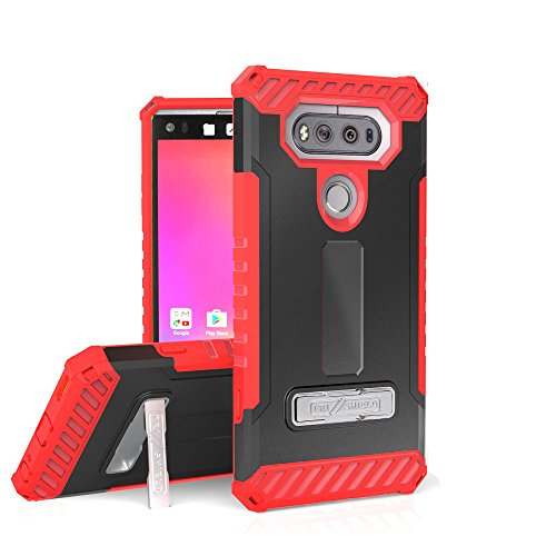 For LG V20, H910 (AT&T), H918 (T-Mobile), LS997 (Sprint), VS995 (Verizon),US996 TRI-SHIELD SERIES RUGGED KICKSTAND CASE + BELT CLIP HOLSTER [WITH CREDIT CARD SLOT & LANYARD] (Red ()