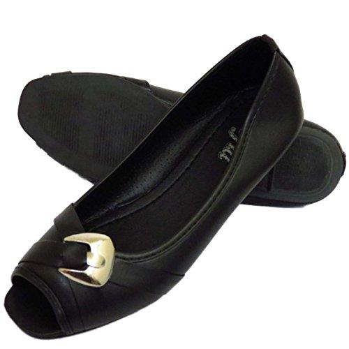 Damen Schwarz zum Reinschlüpfen Pumps Bequem Arbeit Freizeit Peep-Toe Absatz Schuhe UK 3-8