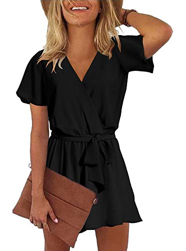 (REORIA Womens Casual Summer One Piece Ruffles Short Sleeve V Neck Tie Front Belted Wrap Playsuits Short Jumpsuit Beach Rompers Black)