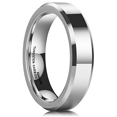 King Will Basic Men 5mm Tungsten Carbide Wedding Ring Shiny Finish Plain Beveled Edge Engagement Band 12.5