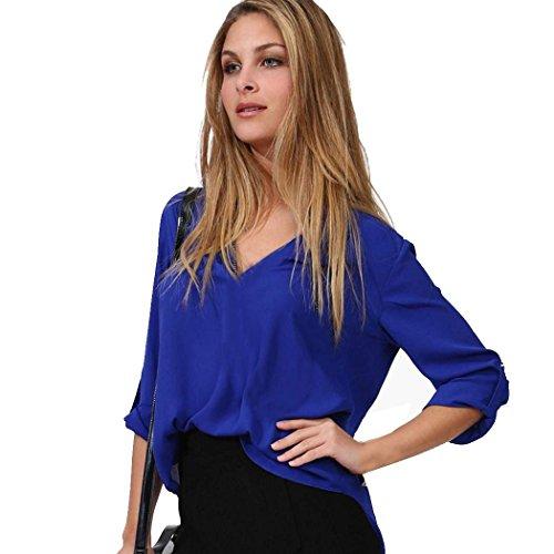 Zeagoo Women's Sexy Girl Solid V-neck Loose Chiffon Shirt Blouse