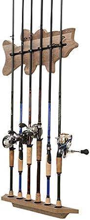 "Bass Fish Shaped Fishing Rod Wall Rack for Fishing Rod Storage, 6 Rod Capacity, 24"" x 12"" x 3"","