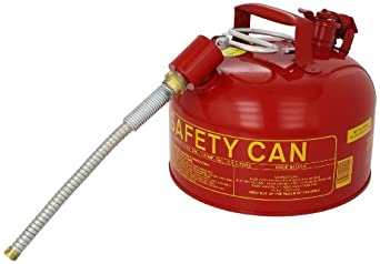 "Eagle U2-26-SX5 Type II Metal Safety Can, Flammables, 11-1/4"" Width x 9-1/2"" Depth, 2 Gallon Capacity, 5/8"" OD Pour Spout, Red"