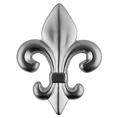 Fleur-de-Lis Satin Nickel Drawer Knob Pull Handle 2-1/2