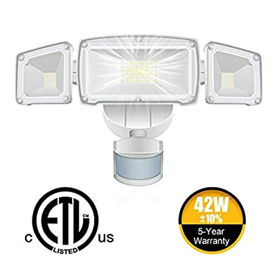 WHDZ 42W LED Security Light 3 Head Motion Sensor Light Outdoor LED Flood Light 3000LM 6000K Super Bright ETL Certified IP65 Waterproof 180° Illumination Range Human BOD
