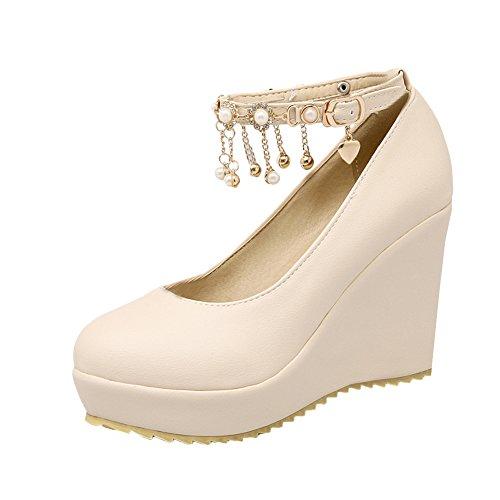 Mee Shoes Damen bequem Keilabsatz ankle-strap Schnalle Metall-Dekoration Pumps Beige